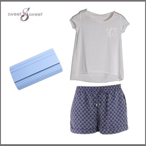 Total look en azul con shorts by Sweet Sweet